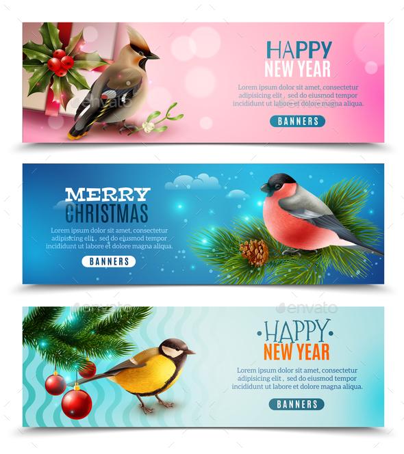 Winter Birds Horizontal Banners - Animals Characters