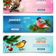 Winter Birds Horizontal Banners