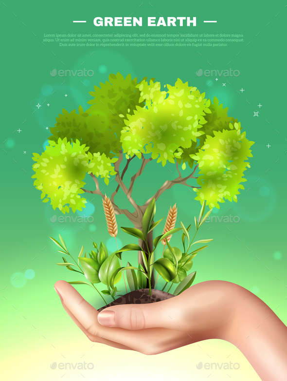 Realistic Hand Plants Ecology Illustration - Flowers & Plants Nature