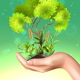 Realistic Hand Plants Ecology Illustration