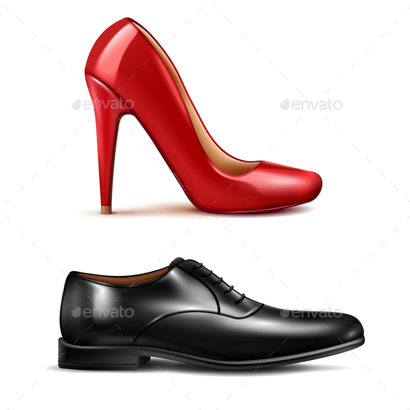 Shoes Realistic Set - People Characters