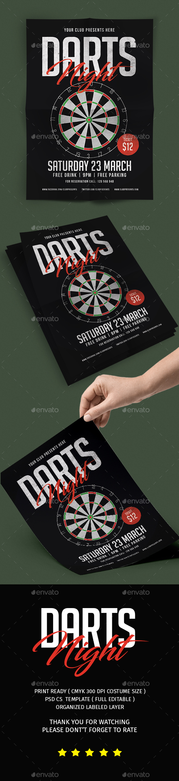 Darts Night Flyer - Flyers Print Templates