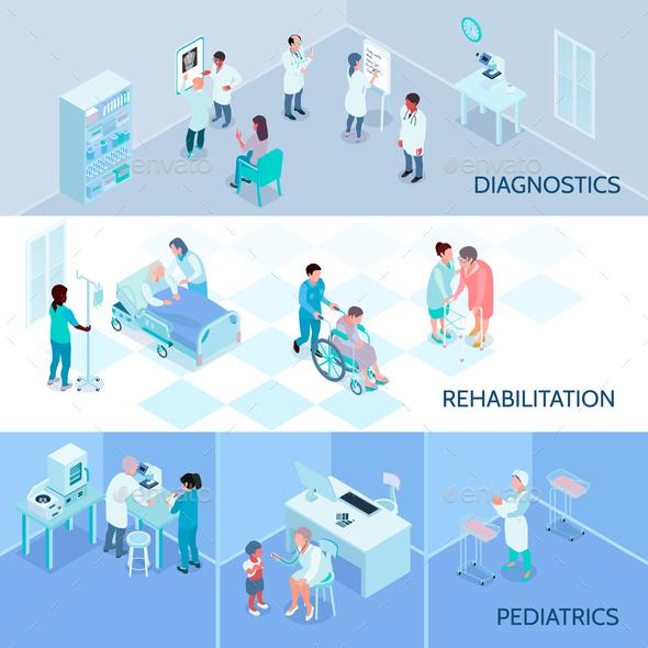 Hospital Staff Isometric Horizontal Banners - Health/Medicine Conceptual