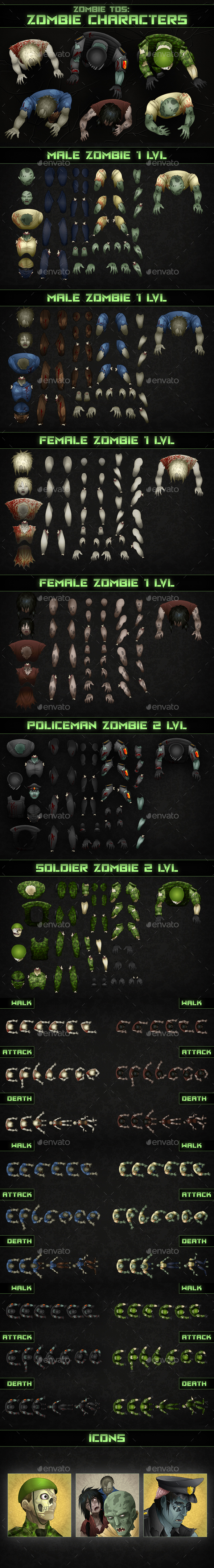 Top-Down Shooter: Zombie - Sprites Game Assets