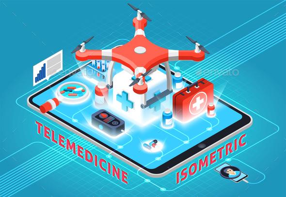 Telemedicine Isometric Composition - Health/Medicine Conceptual
