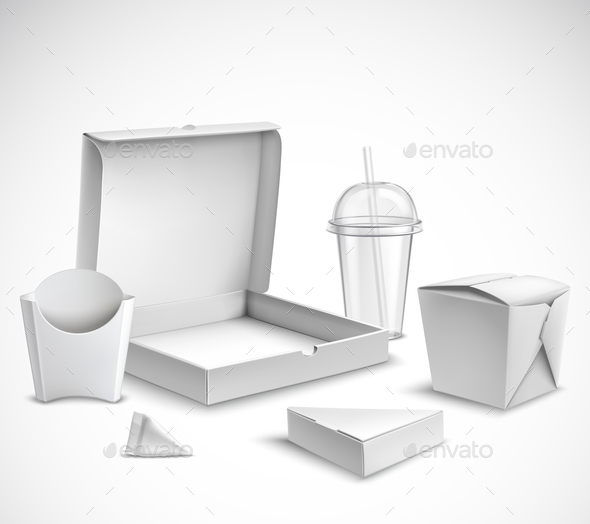 Fast Food Packaging Realistic Set - Food Objects