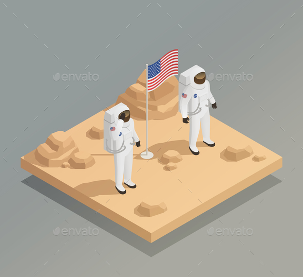 American Astronauts Isometric Composition - People Characters