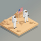 American Astronauts Isometric Composition