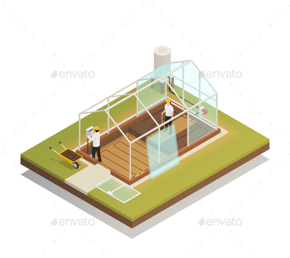 Greenhouse Facility Construction Isometric Composition - Industries Business