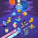 Startup Entrepreneurship  Isometric Composition Poster