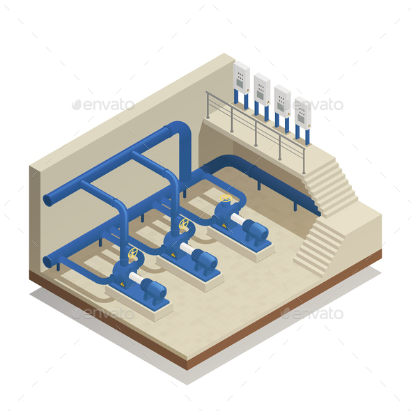Water Cleaning System Isometric Composition - Industries Business