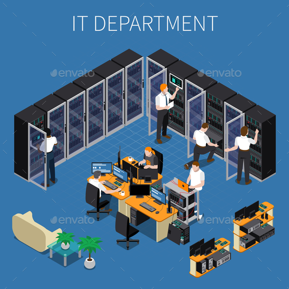 IT Engineering Isometric Composition - People Characters