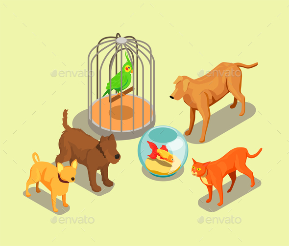 Pet Shop Isometric Background - Animals Characters