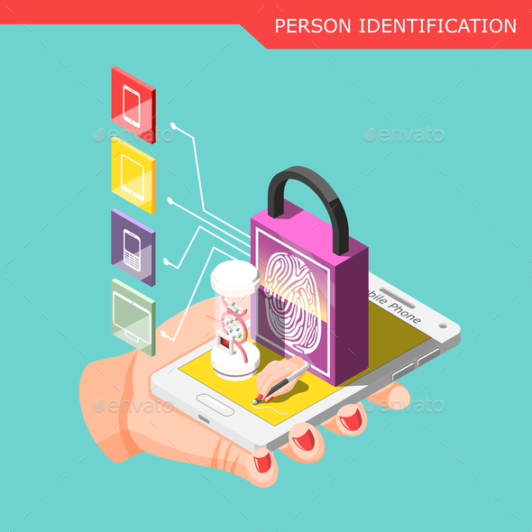 Biometric ID Isometric Composition - Miscellaneous Conceptual