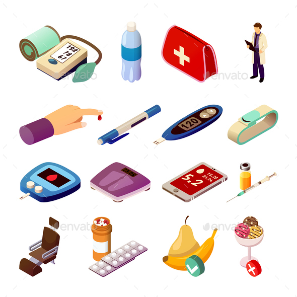 Diabetes Control Isometric Icons - Health/Medicine Conceptual
