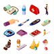 Diabetes Control Isometric Icons