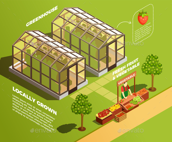 Isometric Farm Background - Food Objects