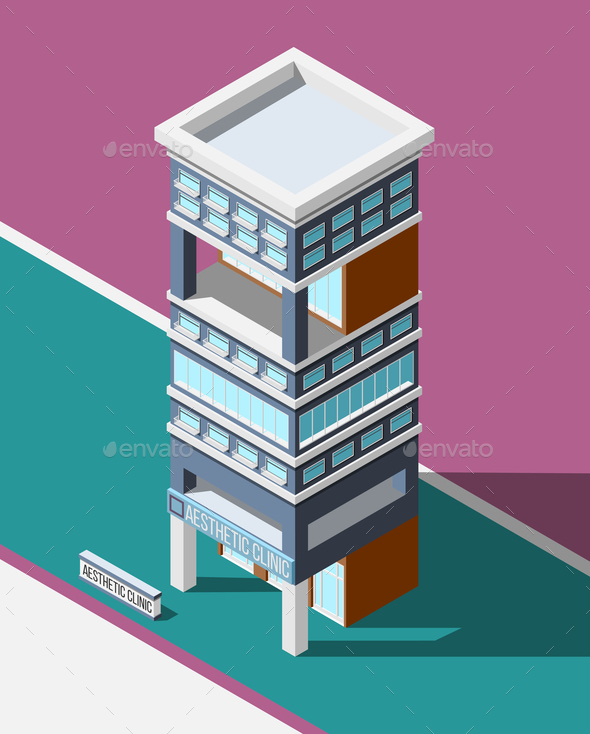 Aesthetic Clinic Isometric Background - Buildings Objects
