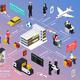 Airplane Passengers and Crew Isometric Flowchart