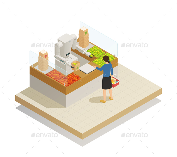 Supermarket Robotic Technology Isometric Composition - Food Objects