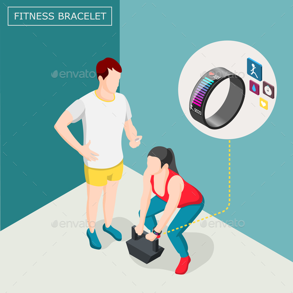 Fitness Bracelet Isometric Background - Sports/Activity Conceptual