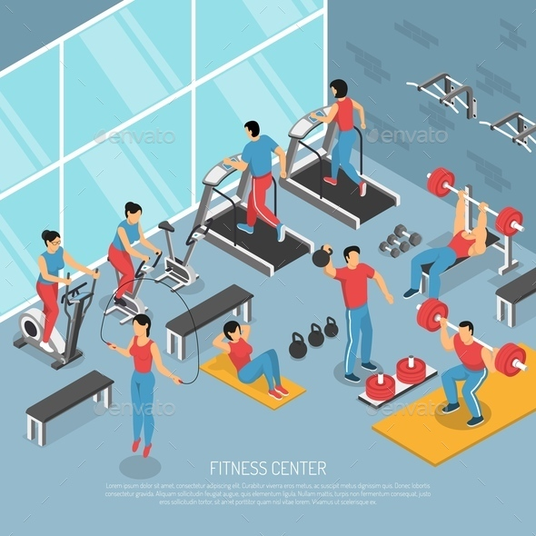Fitness Center Interior Isometric Poster - Sports/Activity Conceptual