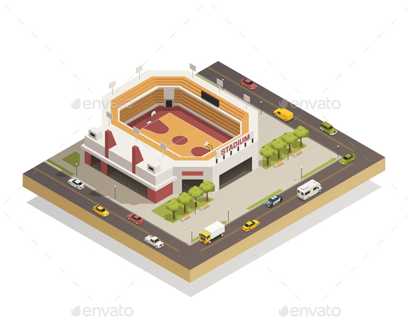 Basketball  Arena Stadium  Isometric Composition - Buildings Objects