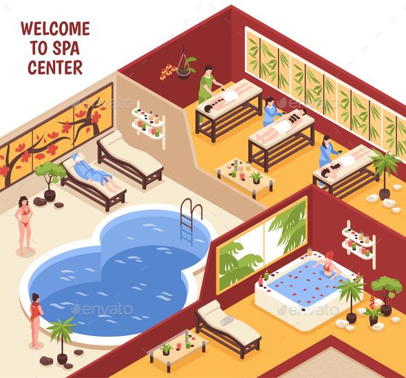 Isometric Spa Center Background - Health/Medicine Conceptual