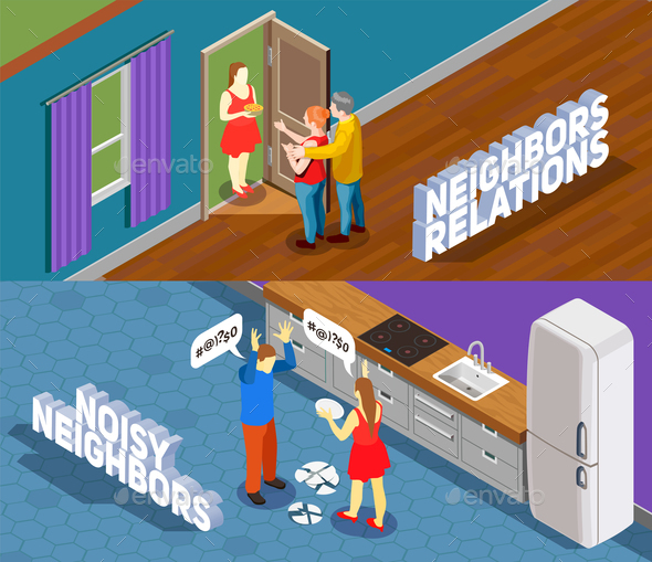 Neighbors Relations Isometric Banners - People Characters
