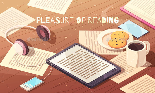 Pleasure of Reading Isometric Illustration - Miscellaneous Vectors