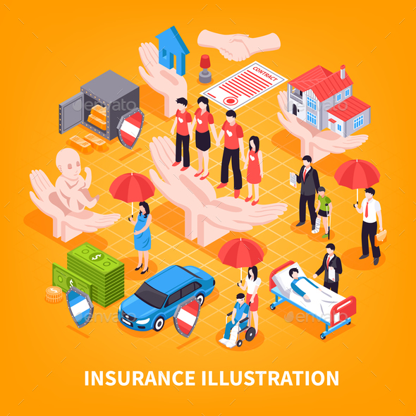 Insurance Isometric Vector Illustration - Industries Business