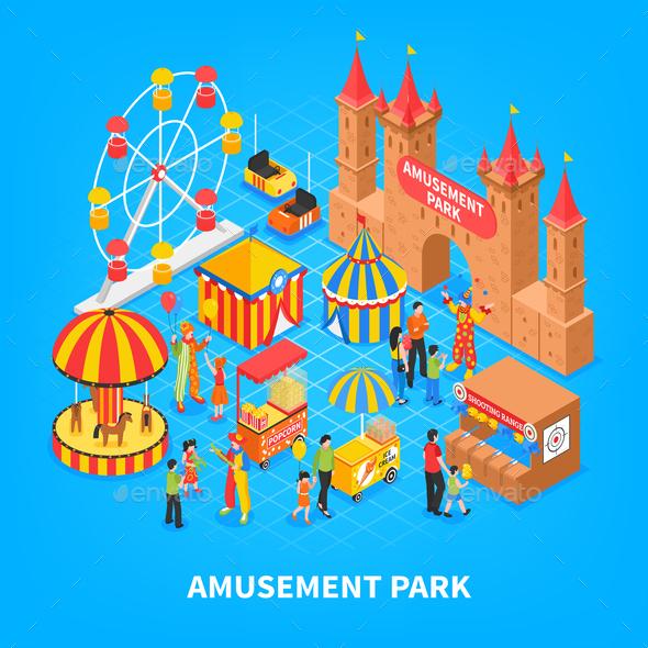 Amusement Park Isometric Background - Miscellaneous Vectors