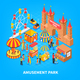 Amusement Park Isometric Background