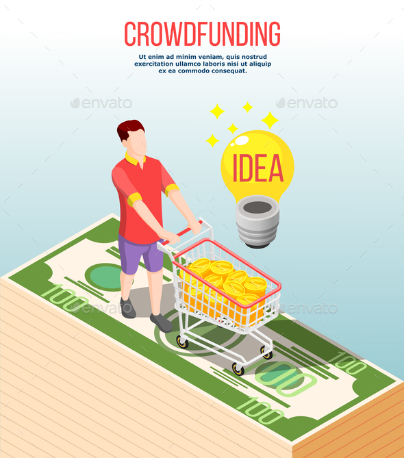 Crowdfunding Isometric Composition - Concepts Business
