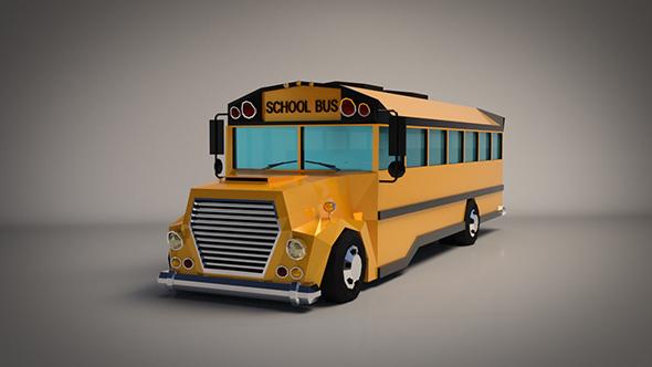 Low-Poly Cartoon School Bus - 3DOcean Item for Sale