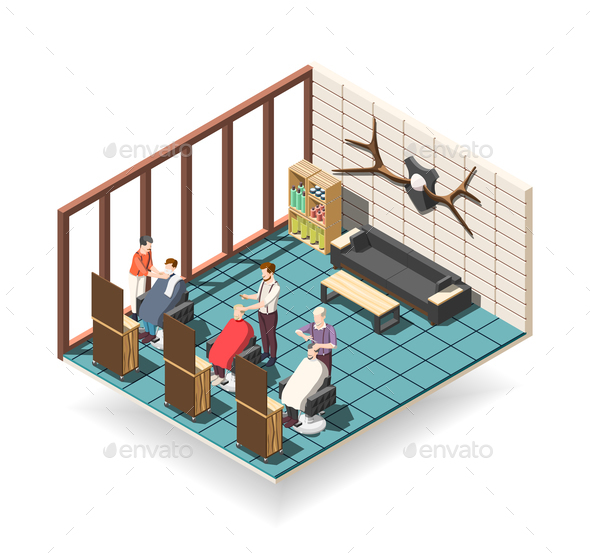 Hair Salon Isometric Composition - Industries Business