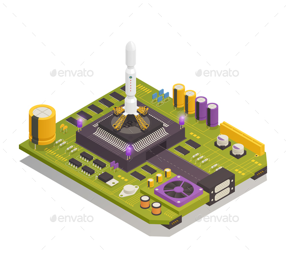 Semiconductor Electronic Components Isometric Composition - Computers Technology