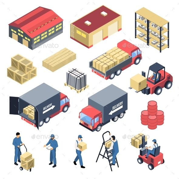 Warehouse Isometric Icons Set - Services Commercial / Shopping