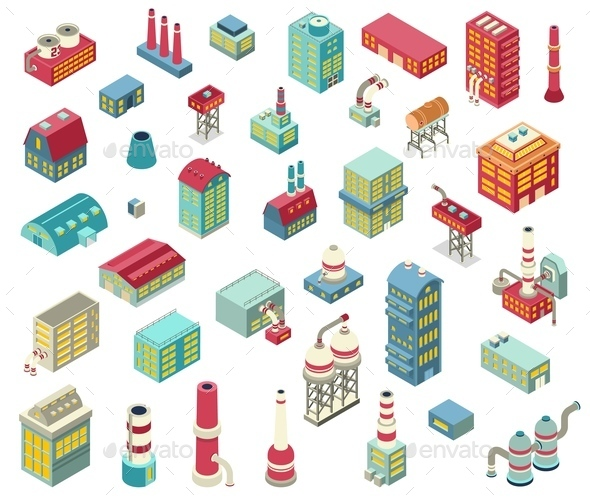 Factory Isometric Objects Set - Buildings Objects