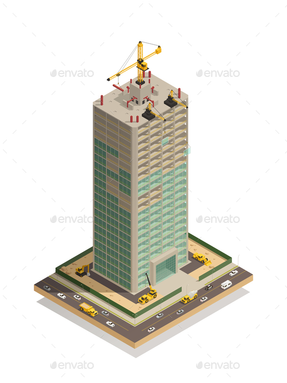 Skyscraper Construction Isometric Composition - Buildings Objects