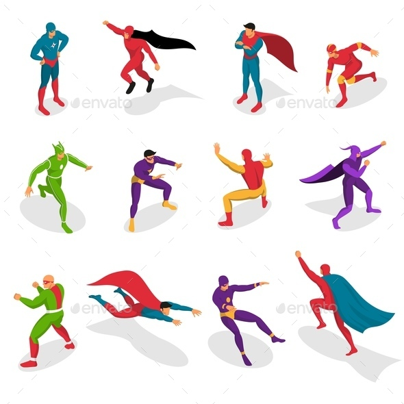 Super Heroes Isometric Set - People Characters