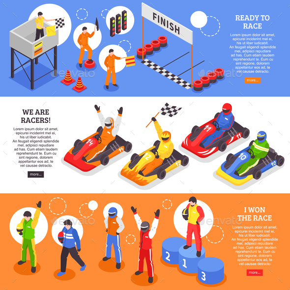 Cart Racers Horizontal Banners - Sports/Activity Conceptual