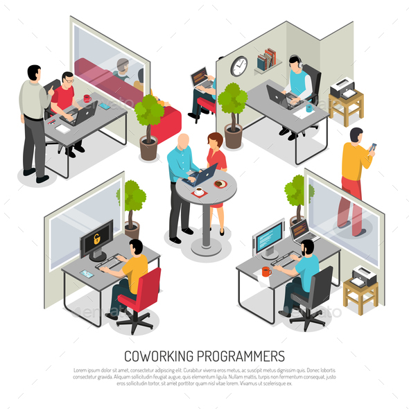 Programmers Coworking Space Isometric Composition - Concepts Business