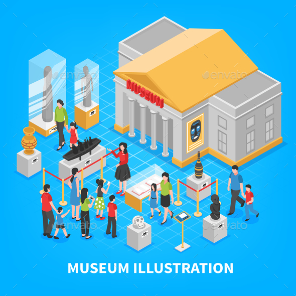 Museum Isometric Composition - Buildings Objects