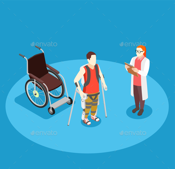 Medical Rehabilitation Isometric Composition - Health/Medicine Conceptual
