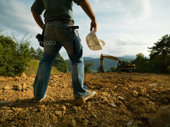 construction foreman inspectiv worksite - Stock Photo - Images