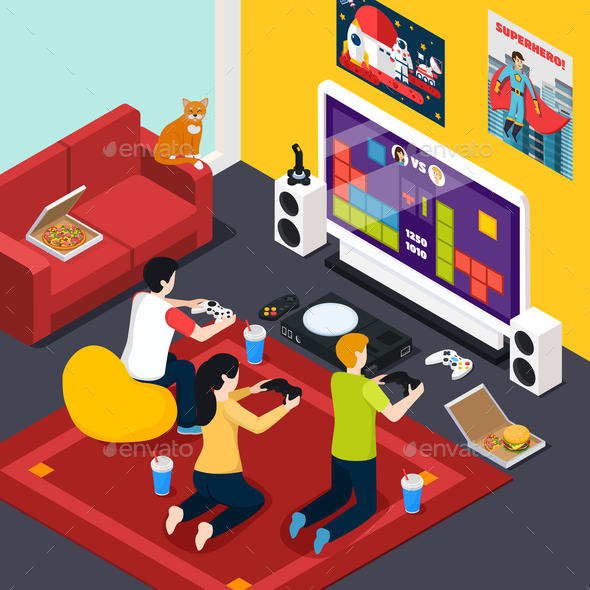 Video Gaming Isometric Composition - People Characters