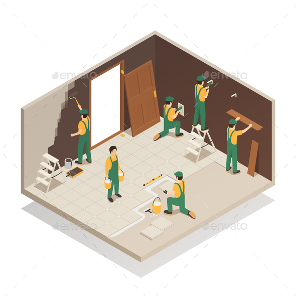 Home Renovation Isometric Composition - Industries Business