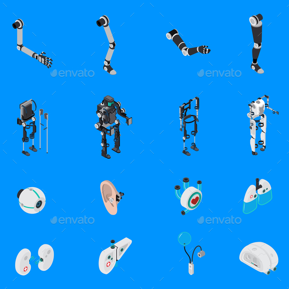 Exoskeleton Bionic Prosthetics Icons Set - Man-made Objects Objects