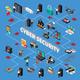Cyber Security Isometric Flowchart